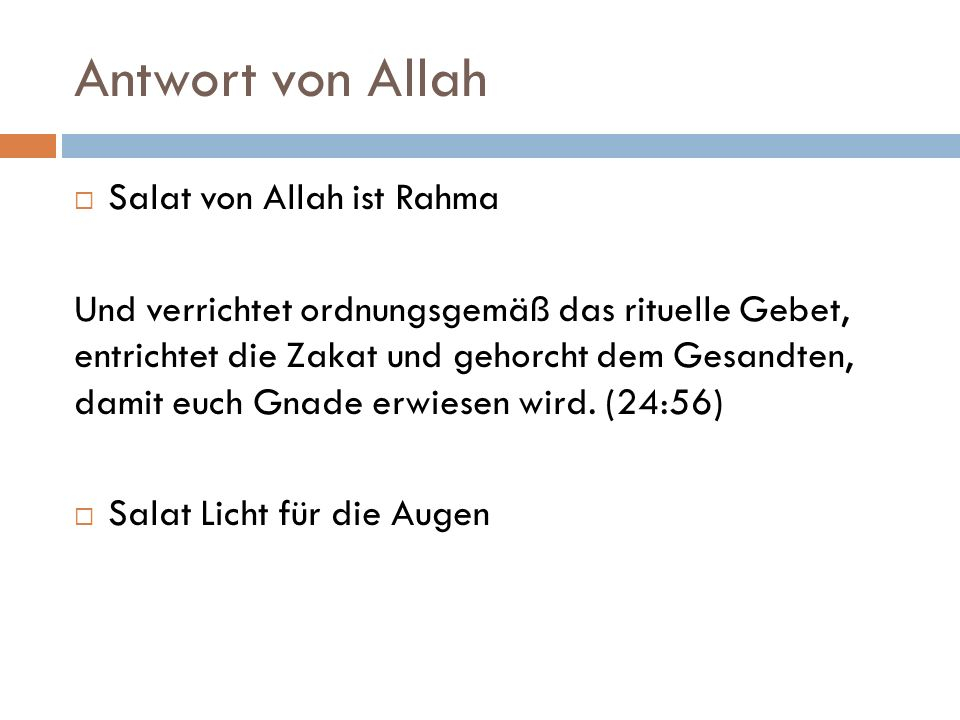 Antwort von Allah Salat von Allah ist Rahma