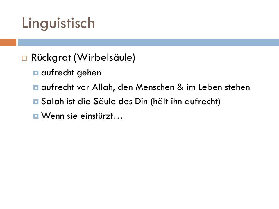 Linguistisch Rückgrat (Wirbelsäule) aufrecht gehen