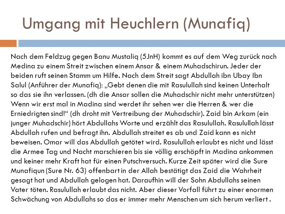Umgang mit Heuchlern (Munafiq)