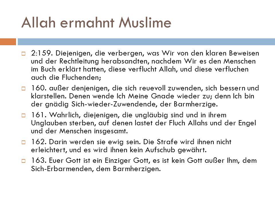 Allah ermahnt Muslime