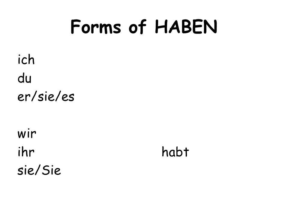 Forms of HABEN ich du er/sie/es wir ihr habt sie/Sie