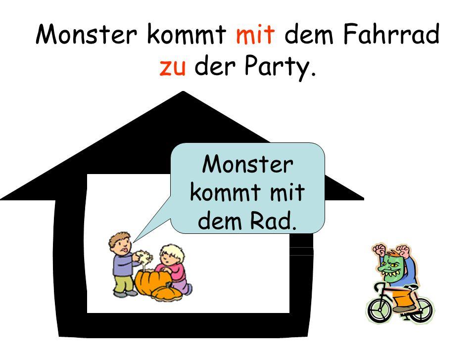 Monster kommt mit dem Fahrrad zu der Party.