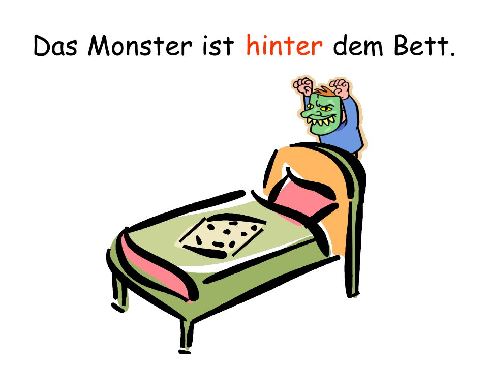 Das Monster ist dem Bett.
