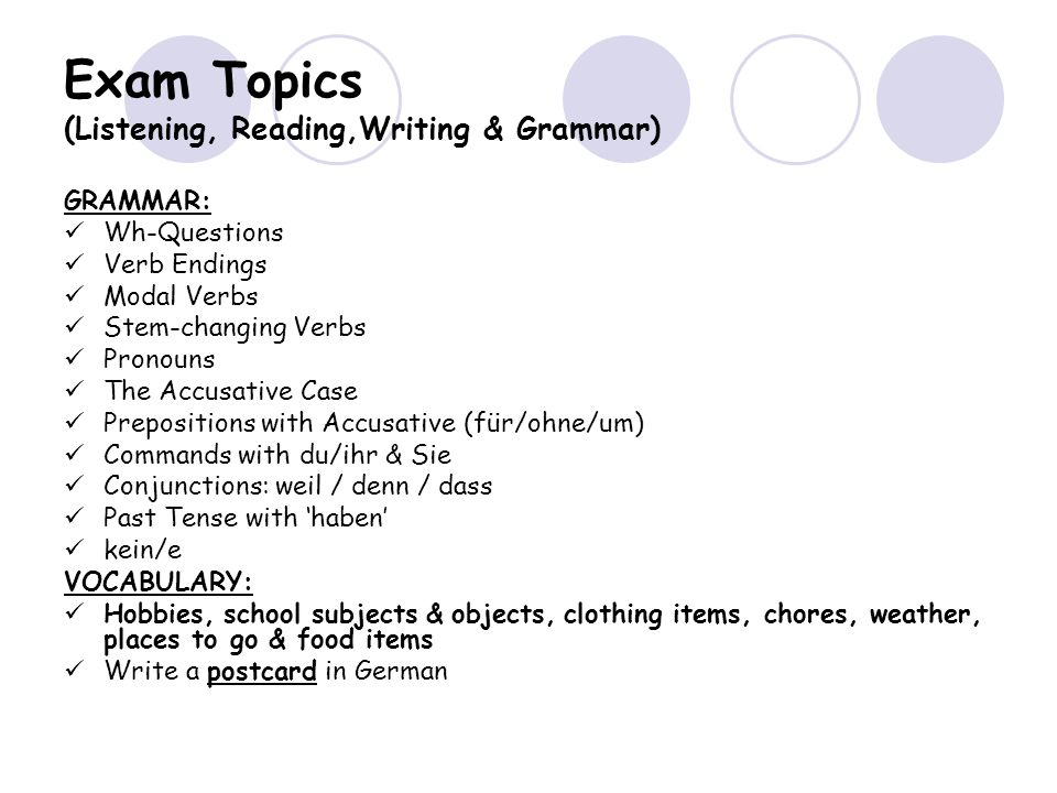 Exam Topics (Listening, Reading,Writing & Grammar)