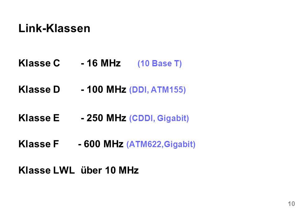 Link-Klassen Klasse C - 16 MHz (10 Base T)