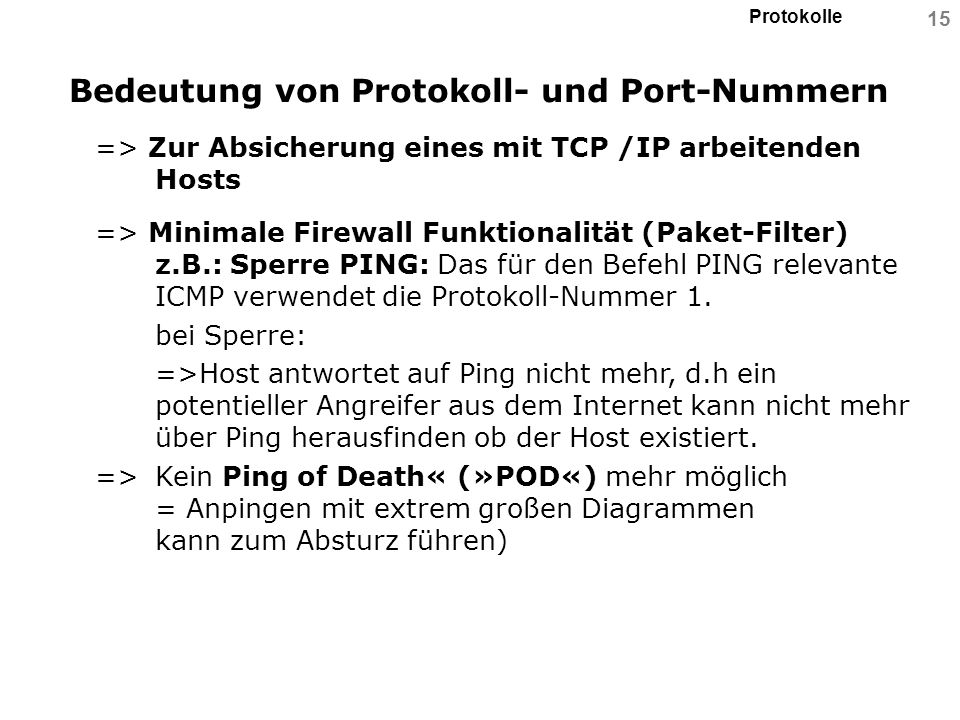 Bedeutung von Protokoll- und Port-Nummern