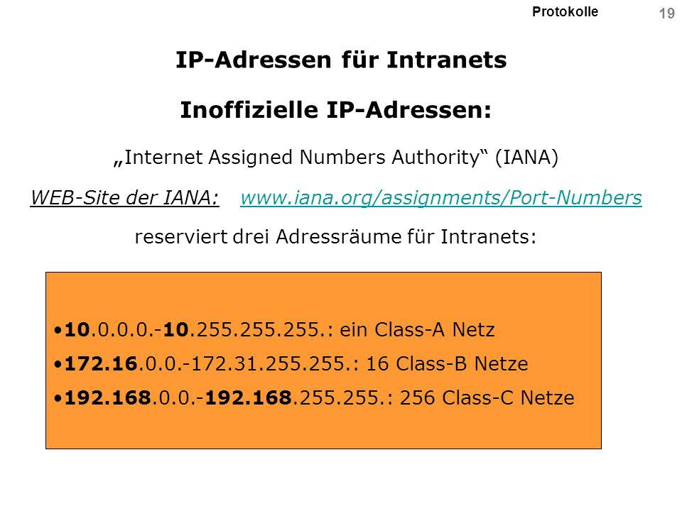 IP-Adressen für Intranets