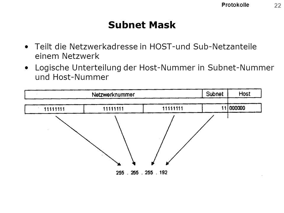 Subnet MaskTeilt die Netzwerkadresse in HOST-und Sub-Netzanteile einem Netzwerk.