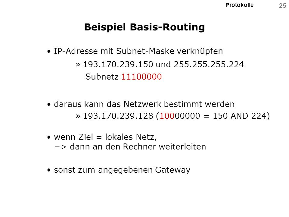 Beispiel Basis-Routing