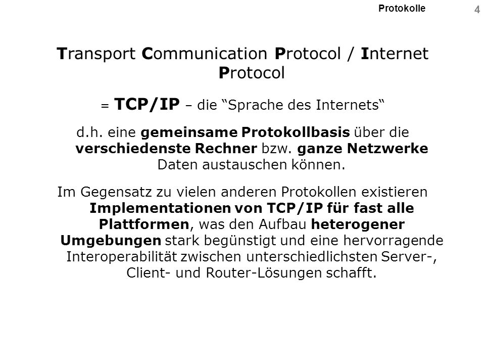 Transport Communication Protocol / Internet Protocol