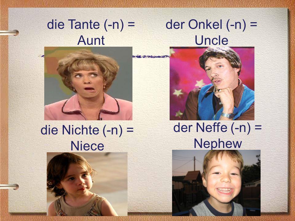 die Tante (-n) = Aunt der Onkel (-n) = Uncle der Neffe (-n) = Nephew die Nichte (-n) = Niece