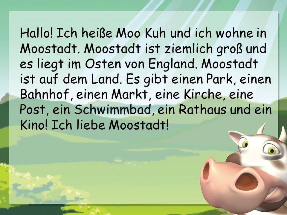 Hallo. Ich heiße Moo Kuh und ich wohne in Moostadt