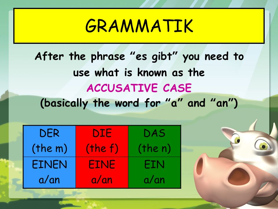 GRAMMATIK After the phrase es gibt you need to