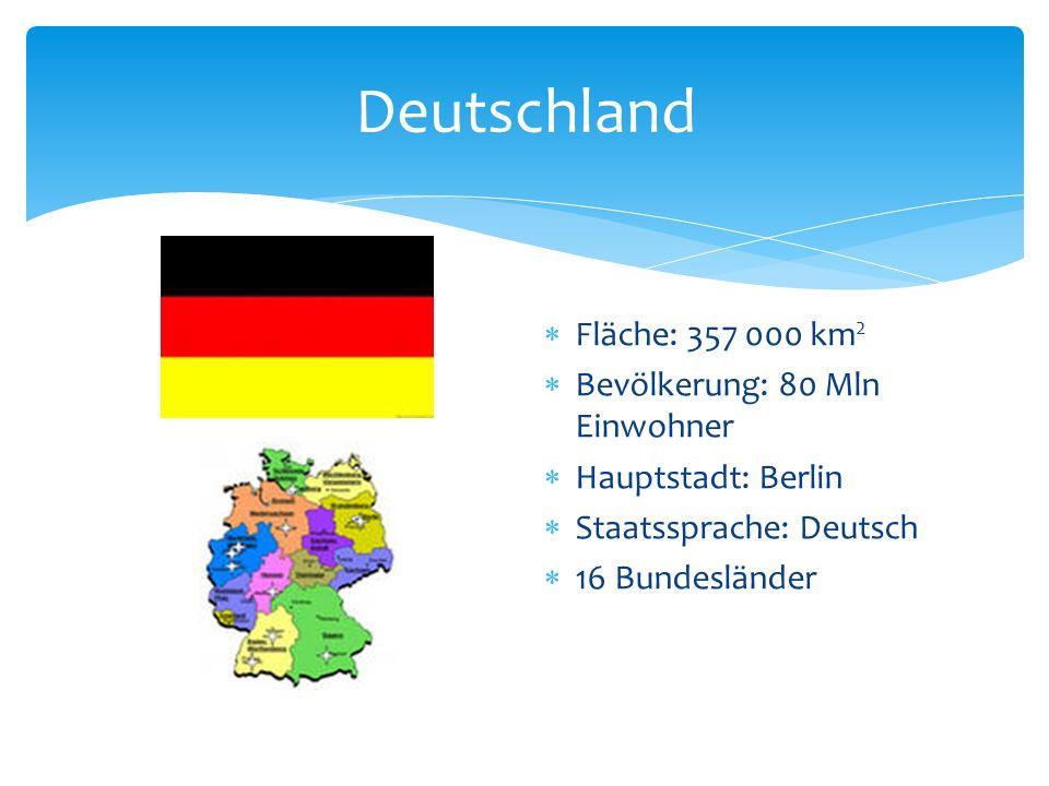 Deutschland Fläche: 357 000 km2 Bevölkerung: 80 Mln Einwohner
