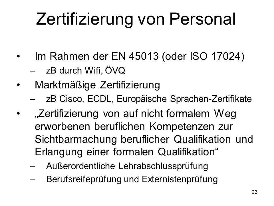 Zertifizierung von Personal