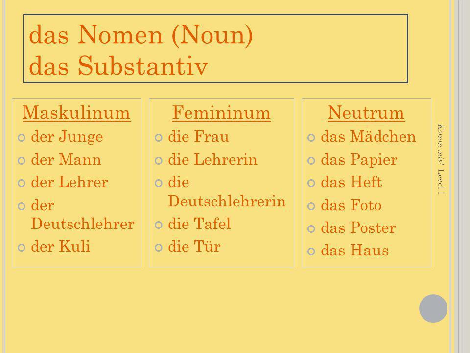 das Nomen (Noun) das Substantiv