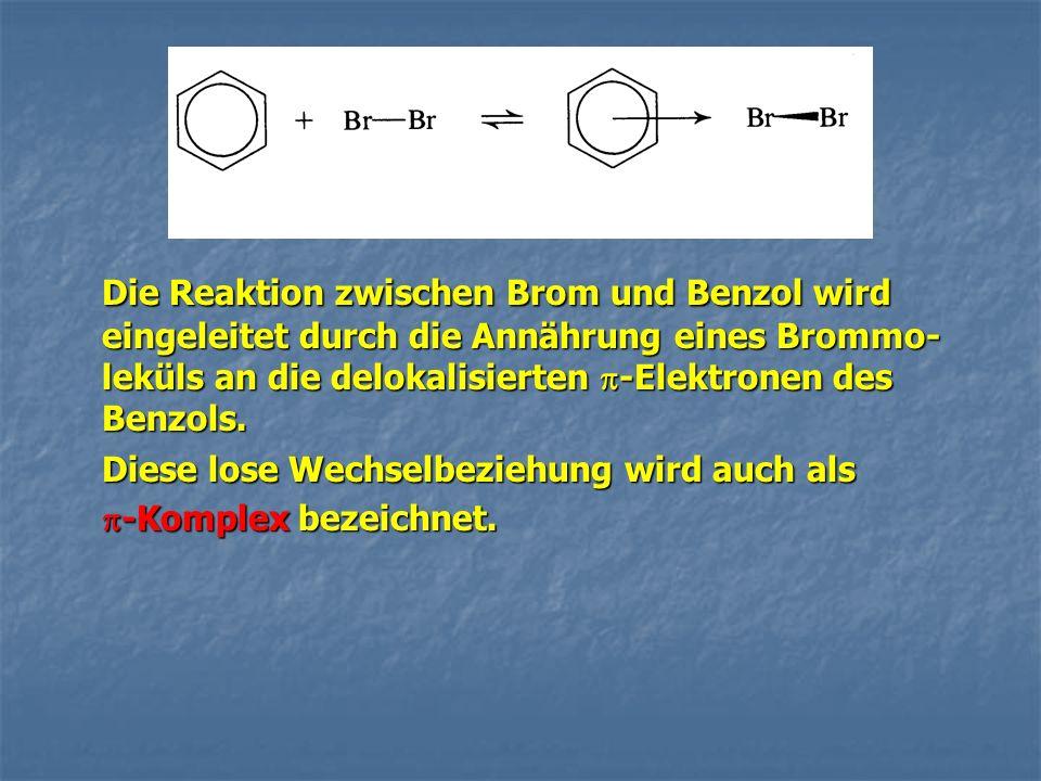 Die Reaktion zwischen Brom und Benzol wird eingeleitet durch die Annährung eines Brommo-leküls an die delokalisierten -Elektronen des Benzols.