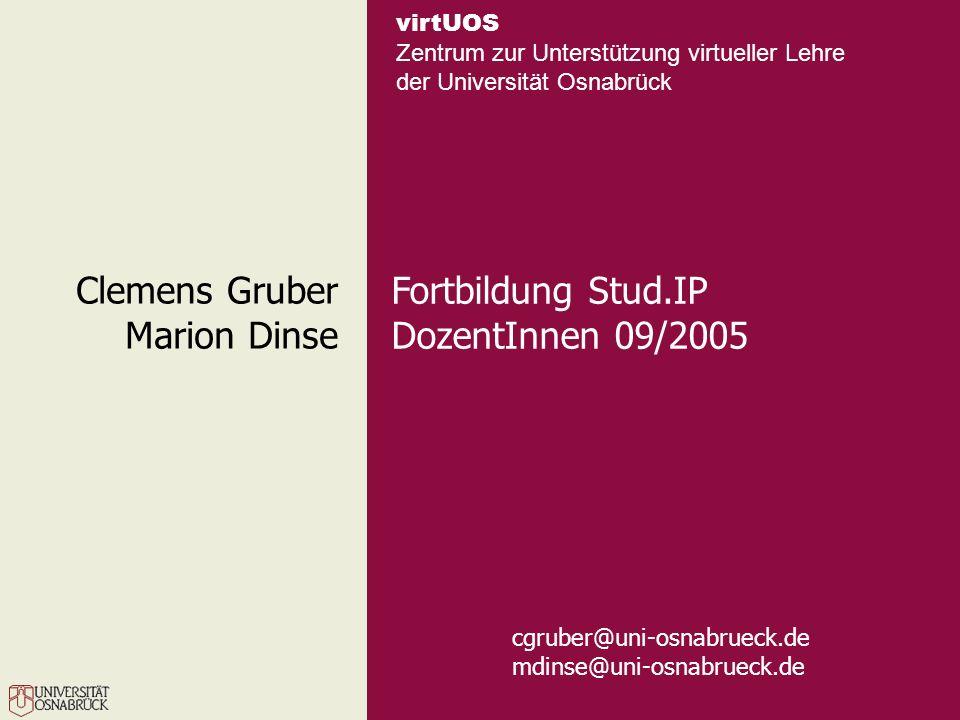 Clemens Gruber Marion Dinse Fortbildung Stud.IP DozentInnen 09/2005