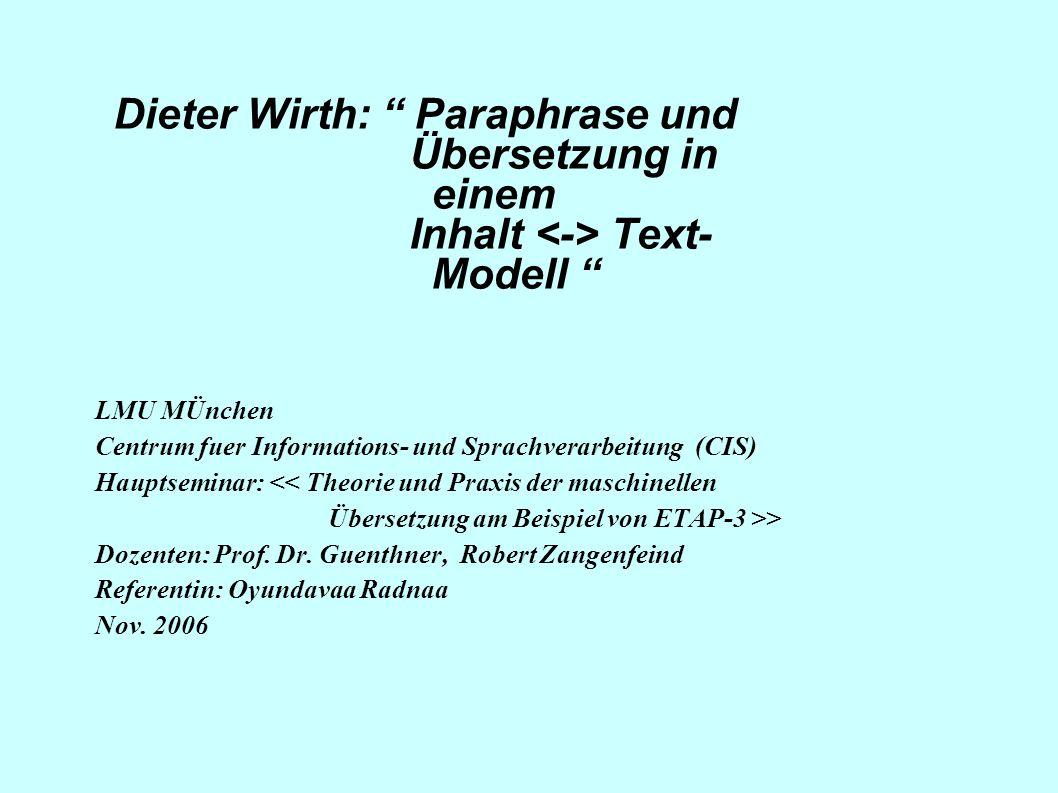 Dieter Wirth: Paraphrase und Übersetzung in