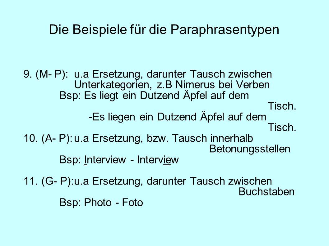 Die Beispiele für die Paraphrasentypen
