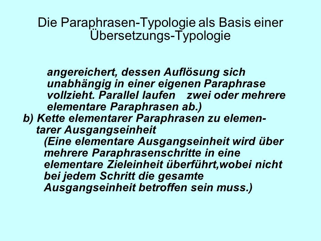 Die Paraphrasen-Typologie als Basis einer Übersetzungs-Typologie