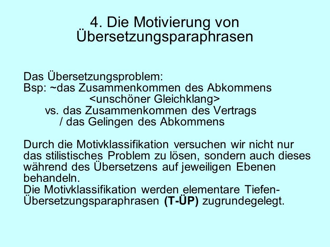 4. Die Motivierung von Übersetzungsparaphrasen