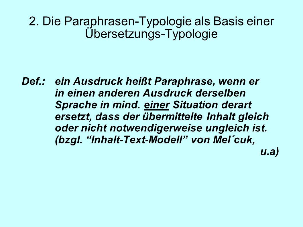2. Die Paraphrasen-Typologie als Basis einer Übersetzungs-Typologie