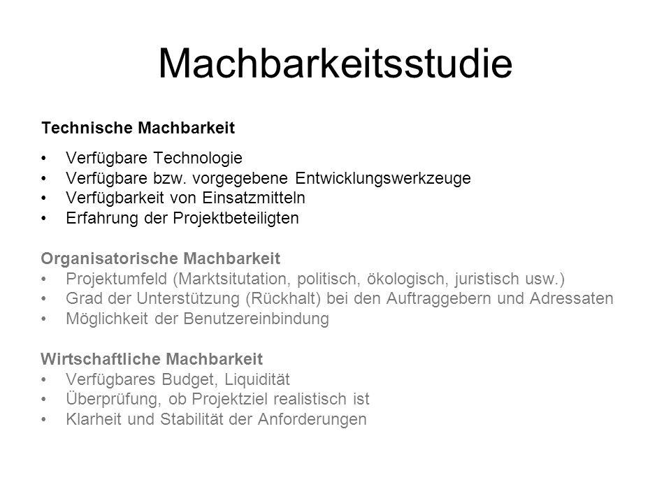 Machbarkeitsstudie Technische Machbarkeit Verfügbare Technologie