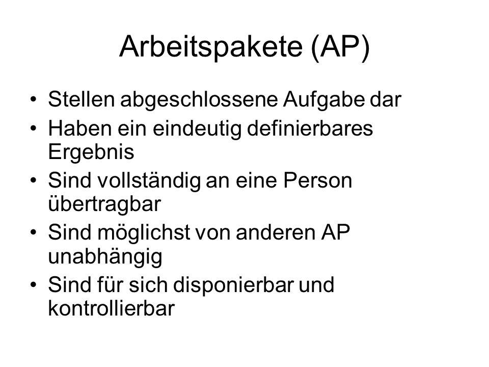 Arbeitspakete (AP) Stellen abgeschlossene Aufgabe dar