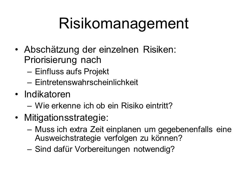 Risikomanagement Abschätzung der einzelnen Risiken: Priorisierung nach