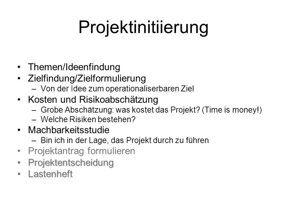 Projektinitiierung Themen/Ideenfindung Zielfindung/Zielformulierung