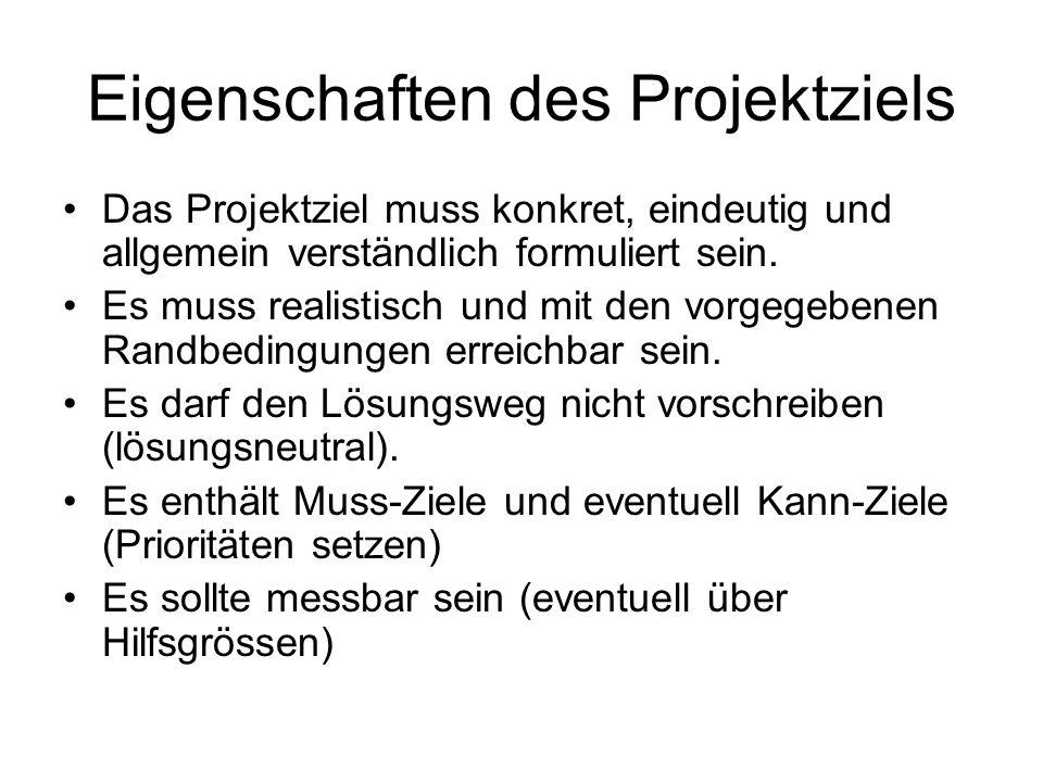 Eigenschaften des Projektziels