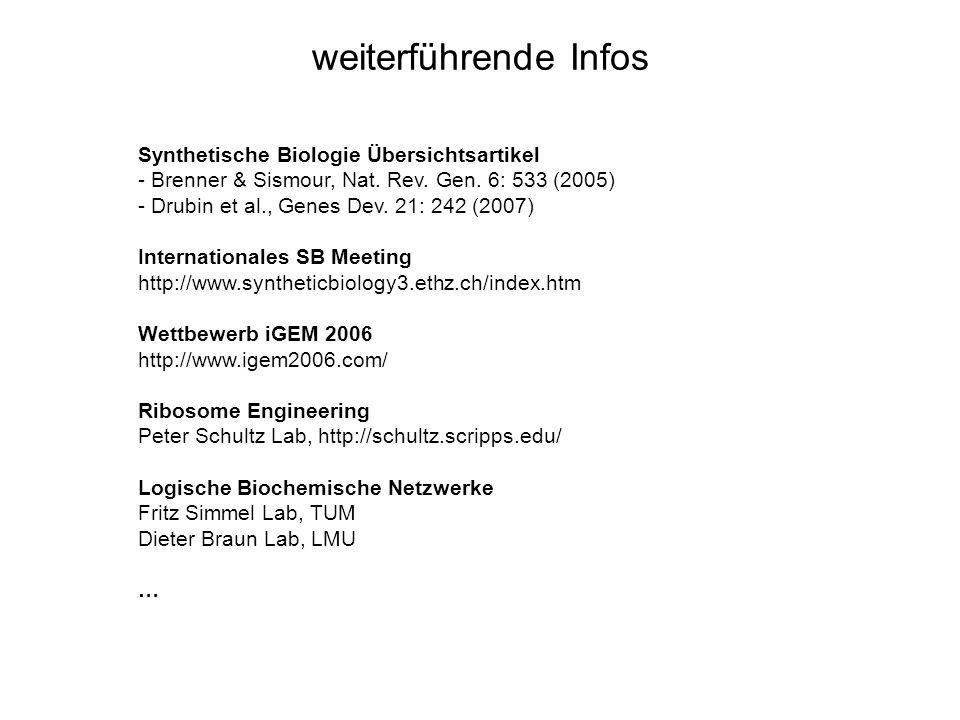 weiterführende Infos Synthetische Biologie Übersichtsartikel