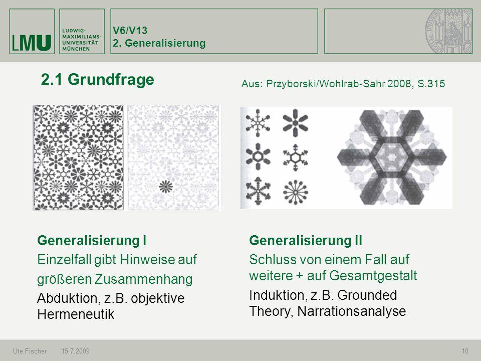 2.1 Grundfrage Generalisierung I Einzelfall gibt Hinweise auf