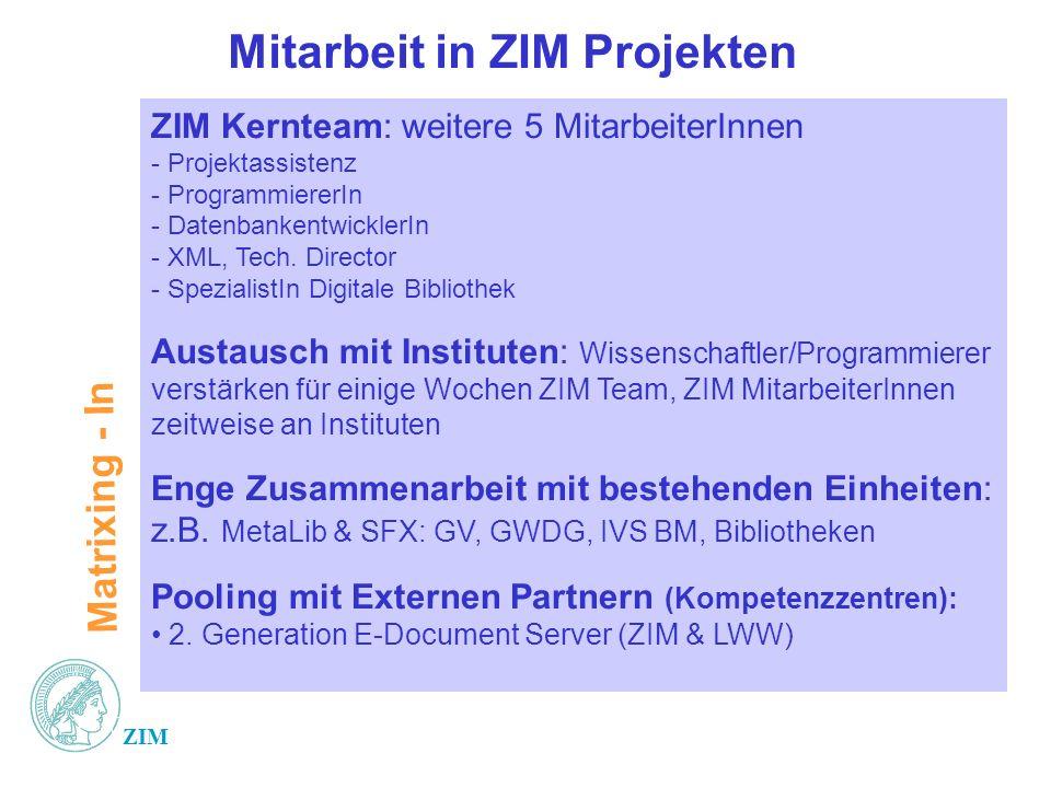 Mitarbeit in ZIM Projekten