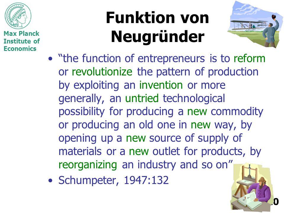 Funktion von Neugründer