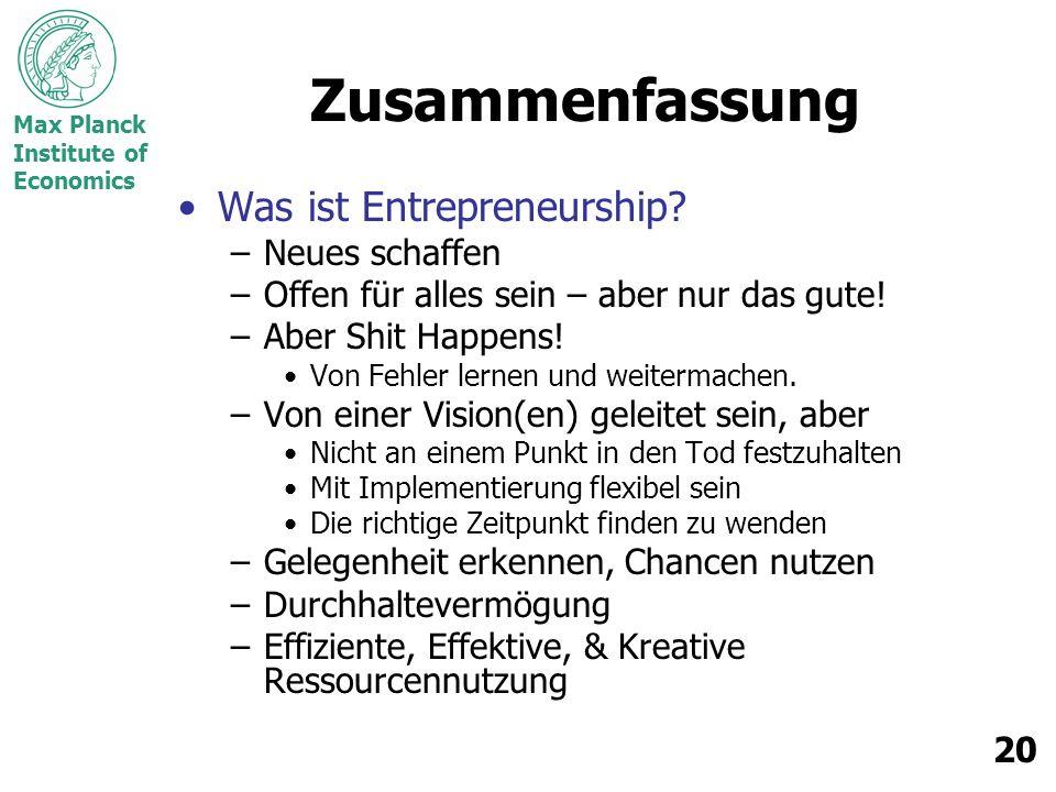 Zusammenfassung Was ist Entrepreneurship Neues schaffen