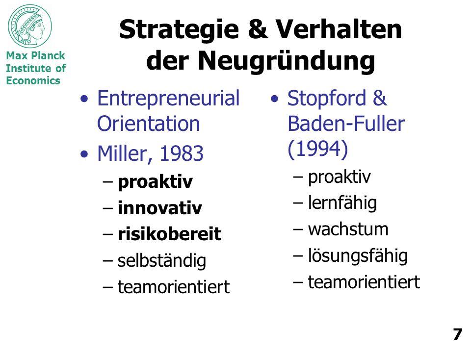 Strategie & Verhalten der Neugründung