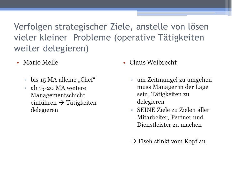 Verfolgen strategischer Ziele, anstelle von lösen vieler kleiner Probleme (operative Tätigkeiten weiter delegieren)