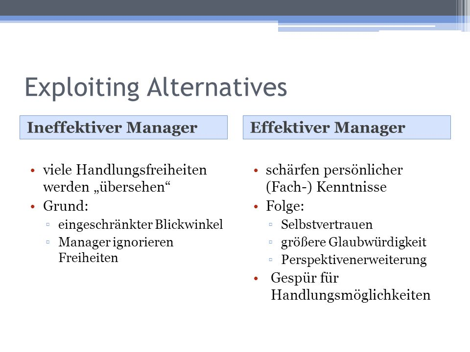 Exploiting Alternatives