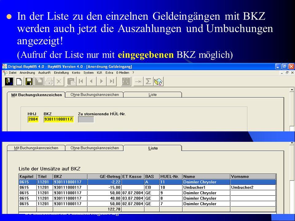 In der Liste zu den einzelnen Geldeingängen mit BKZ werden auch jetzt die Auszahlungen und Umbuchungen angezeigt!