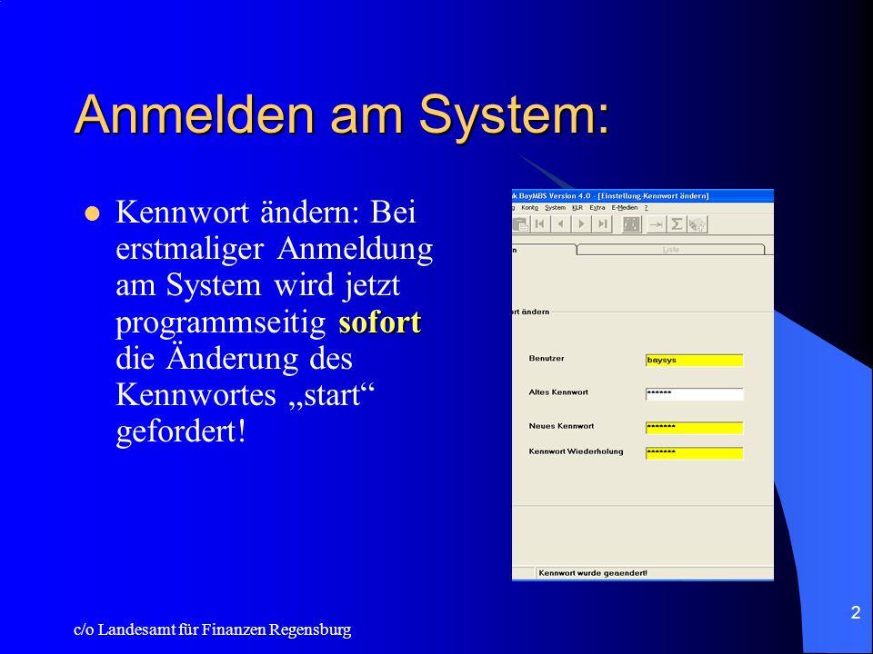 Anmelden am System: