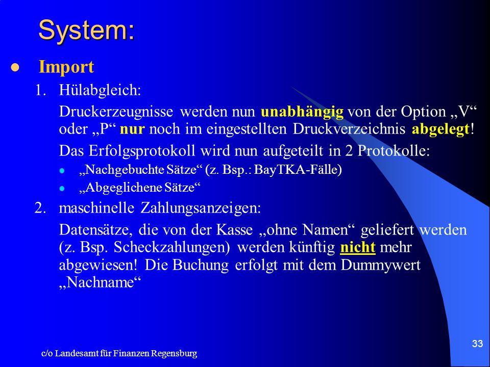 System: Import Hülabgleich: