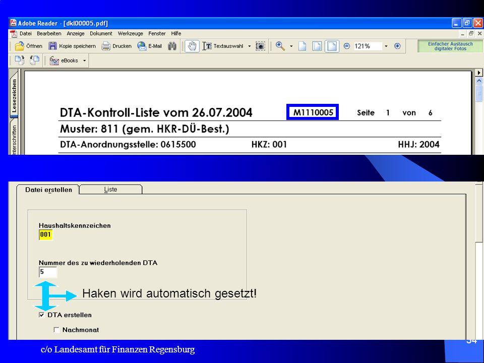 System:Export. In der DTA-Kontrolliste wird jetzt die DTA - Kennung und die laufende DTA - Nummer vermerkt.