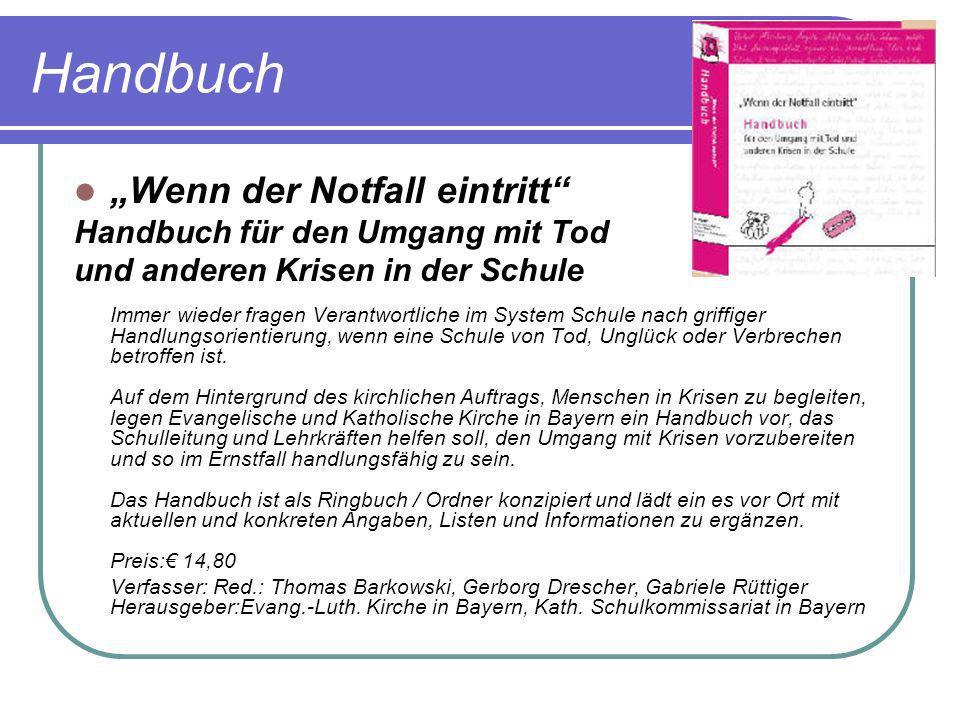 """Handbuch """"Wenn der Notfall eintritt Handbuch für den Umgang mit Tod"""