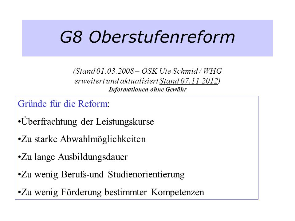 G8 Oberstufenreform (Stand 01. 03