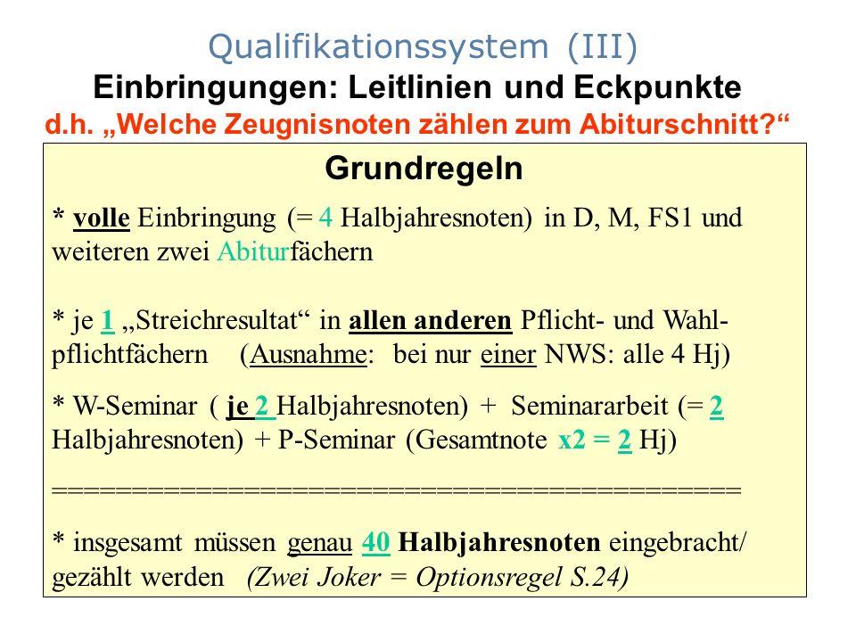 """Qualifikationssystem (III) Einbringungen: Leitlinien und Eckpunkte d.h. """"Welche Zeugnisnoten zählen zum Abiturschnitt"""