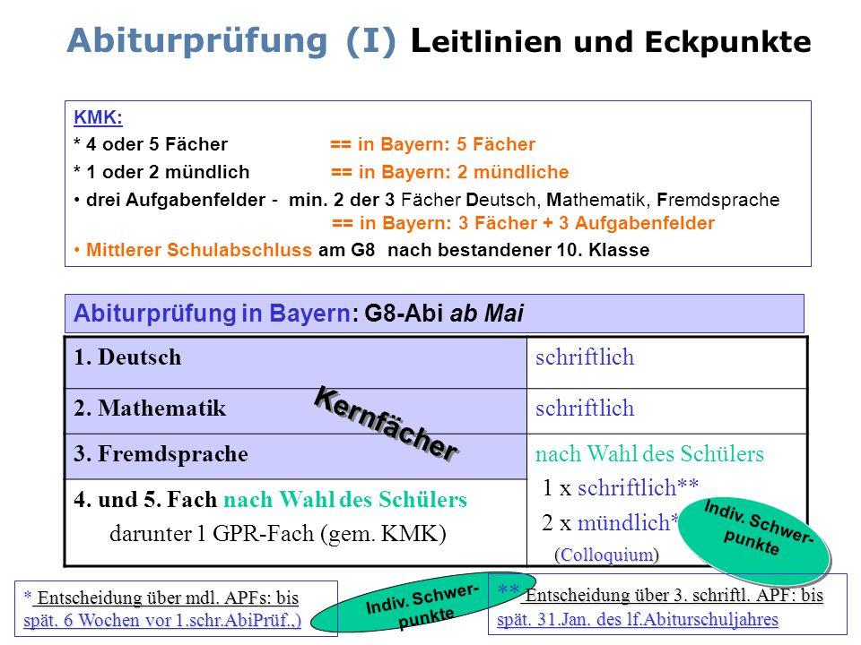 Abiturprüfung (I) Leitlinien und Eckpunkte