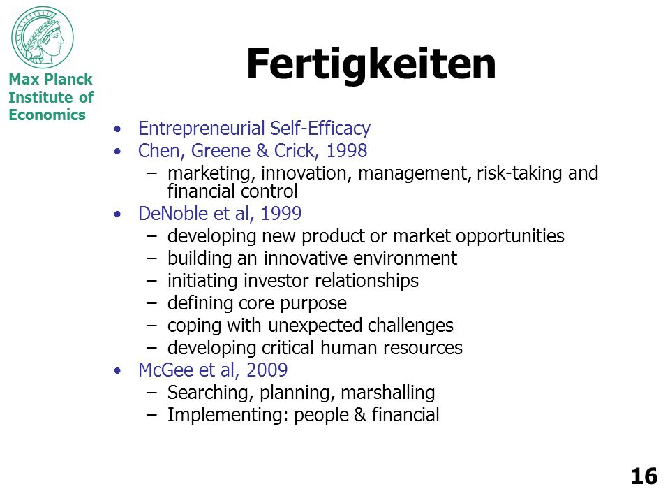 Fertigkeiten Entrepreneurial Self-Efficacy Chen, Greene & Crick, 1998