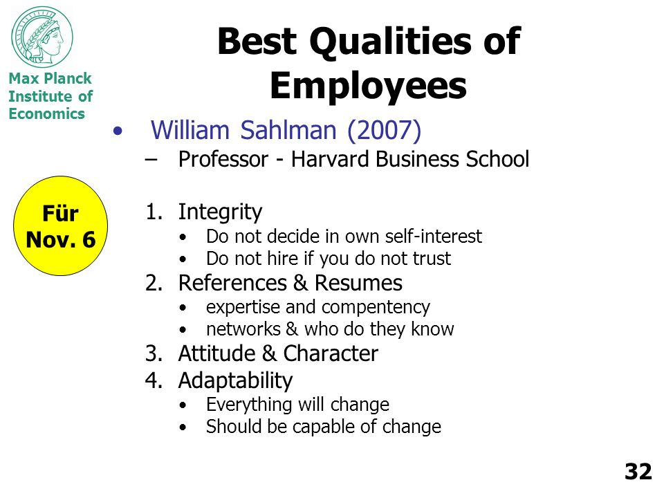 Best Qualities of Employees